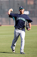 Jose Valdivia #49 of the Seattle Mariners participates in spring training workouts the Mariners minor league complex on March 12, 2011  in Peoria, Arizona. .Photo by:  Bill Mitchell/Four Seam Images.