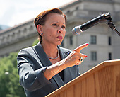 "United States Representative Nydia Velazquez (Democrat of New York) speaks at the ""Women's March in Civil Disobedience to End Family Detention"" in Freedom Plaza in Washington, DC on Thursday, June 28, 2018.  <br /> Credit: Ron Sachs / CNP<br /> (RESTRICTION: NO New York or New Jersey Newspapers or newspapers within a 75 mile radius of New York City)"