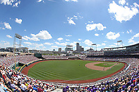 A general view of TD Ameritrade Park during Game 3 of the 2014 Men's College World Series between the Texas Tech Red Raiders and TCU Horned Frogs at TD Ameritrade Park on June 15, 2014 in Omaha, Nebraska. (Brace Hemmelgarn/Four Seam Images)