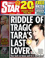 Cutting, tear sheet, tear sheet Daily Star, page 1, page1, cover,  Tara Palmer Tomkinson ,  Tara Palmer-Tomkinson