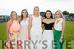 Enjoying the Listowel Races Ladies Day on Sunday were l-r  Shauna Foley, Sarah Neenan, Shauna Lynch, Gillian O'Leary and Jennifer Kennelly.