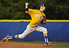 Joseph Bratichak #51, Kellenberg pitcher, delivers to the plate in the bottom of the eighth inning in Game 2 of the CHSAA varsity baseball finals against St. Anthony's at Hofstra University on Sunday, May 31, 2016. Kellenberg won 5-4 to sweep the best-of-three series and take the league championship.