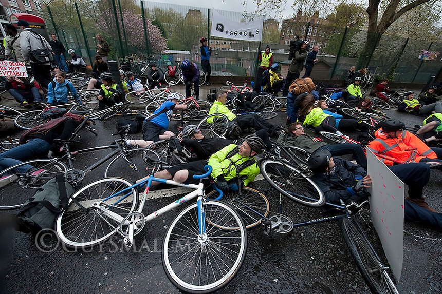Cyclists protest at Addison Lee 23-4-12 Cyclists protest at the London Headquarters of Addison Lee following comments by the company head John Griffin which insinuated that cyclist road deaths were inevitable.