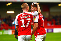 Fleetwood Town's Wes Burns celebrates scoring his side's second goal with team-mate Paddy Madden<br /> <br /> Photographer Richard Martin-Roberts/CameraSport<br /> <br /> The EFL Sky Bet League One - Fleetwood Town v Shrewsbury Town - Saturday 13th October 2018 - Highbury Stadium - Fleetwood<br /> <br /> World Copyright &not;&copy; 2018 CameraSport. All rights reserved. 43 Linden Ave. Countesthorpe. Leicester. England. LE8 5PG - Tel: +44 (0) 116 277 4147 - admin@camerasport.com - www.camerasport.com