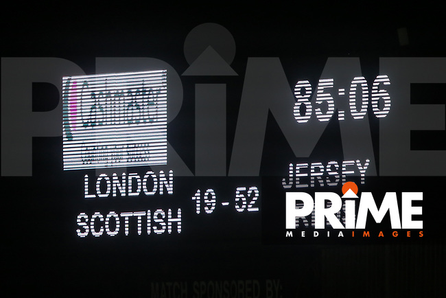 The scoreboard at the end of the Greene King IPA Championship match between London Scottish Football Club and Jersey Reds at Richmond Athletic Ground, Richmond, United Kingdom on 16 March 2018. Photo by David Horn.
