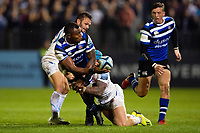 Semesa Rokoduguni of Bath Rugby offloads the ball after being double-tackled. Gallagher Premiership match, between Bath Rugby and Exeter Chiefs on October 5, 2018 at the Recreation Ground in Bath, England. Photo by: Patrick Khachfe / Onside Images