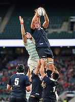 Fergus Taylor of Oxford University wins the ball at a lineout. The Varsity Match between Oxford University and Cambridge University on December 10, 2015 at Twickenham Stadium in London, England. Photo by: Patrick Khachfe / Onside Images