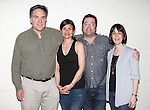 """Tim Sanford, Gina Gionfriddo, Peter DuBois and Leslie Marcus .attending the Meet & Greet for the Playwrights Horizons production of """"Rapture, Blister, Burn'  at their rehearsal studio in New York City on 4/17/2012"""