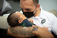 HERMOSILLO, MEXICO - MAY 08: The professional soccer player Oscar Rai Villa de los Cimarrones De Sonora was tattooed number 10 on his arm after his 28-day-old son Ander was born on April 10 last<br />  on May 8, 2020 in Hermosillo, Mexico. Due to the Coronavirus crisis the Liga MX has announced the cancellation of the Ascenso MX 2019-2020 season and to temporarily suspend promotions and relegations for the next six seasons. (Photo by Luis Gutierrez/Norte Photo/Getty Images)