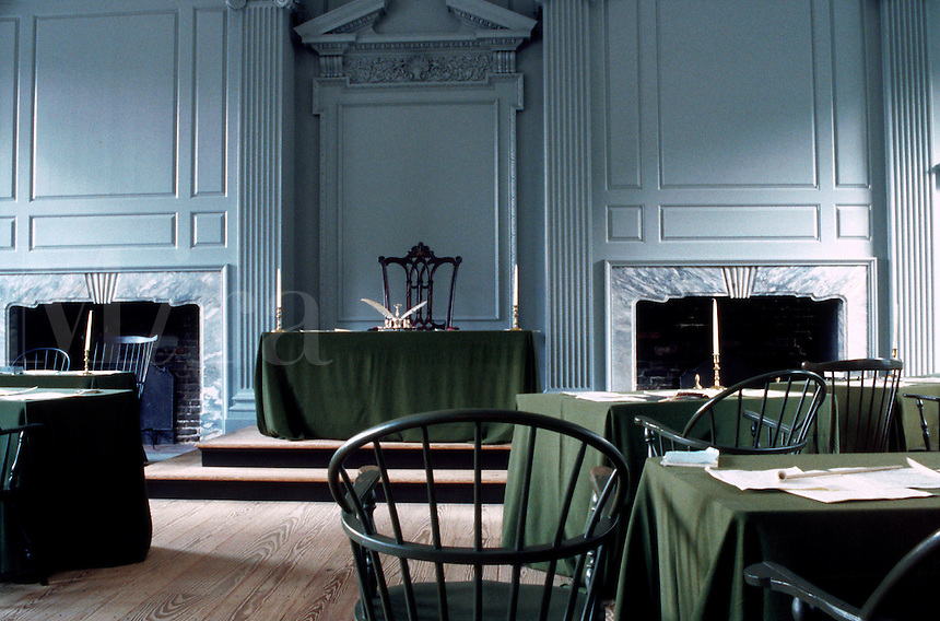 An interior view of the Assembly Room at Independence Hall in Independence National Historic Park. Philadelphia, Pennsylvania.