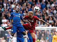 N'Golo Kante of Chelsea and Fabinho of Liverpool during the Premier League match between Chelsea and Liverpool at Stamford Bridge, London, England on 22 September 2019. Photo by Liam McAvoy / PRiME Media Images.