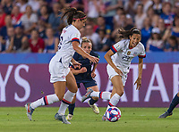 PARIS,  - JUNE 28: Alex Morgan #13 runs with Christen Press #23 during a game between France and USWNT at Parc des Princes on June 28, 2019 in Paris, France.