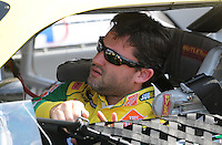 Oct 4, 2008; Talladega, AL, USA; NASCAR Sprint Cup Series driver Tony Stewart during qualifying for the Amp Energy 500 at the Talladega Superspeedway. Mandatory Credit: Mark J. Rebilas-