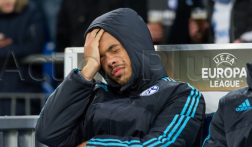 25.02.2016. Gelsenkirchen, Germany.  Schalke's Franco Di Santo on the bench at the Europa League Round of 32 Second Leg soccer match between Schalke 04 and FC Shakhtar Donetsk in the Veltins Arena in Gelsenkirchen, Germany, 25 February 2016.