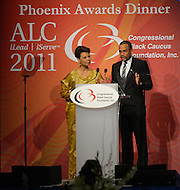 September 24, 2011  (Washington, DC)   Maureen Bunyan, anchor ABC 7 News in Washington, and actor Hill Harper host The Phoenix Awards Dinner.  The Phoenix Award is given to individuals that positively impact the African-American experience.  The Dinner concluded a week-long series of activities and panel discussions during the 41st Annual Legislative Conference of the Congressional Black Caucus Foundation.   (Photo by Don Baxter/Media Images International)
