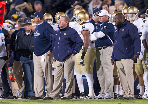 October 01, 2011:  Notre Dame head coach Brian Kelly during NCAA Football game action between the Notre Dame Fighting Irish and the Purdue Boilermakers at Ross-Ade Stadium in West Lafayette, Indiana.  Notre Dame defeated Purdue 38-10.