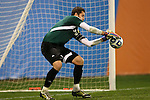 07 December 2012: Indiana's Luis Soffner makes a late save. The Creighton University Bluejays played the Indiana University Hoosiers at Regions Park Stadium in Hoover, Alabama in a 2012 NCAA Division I Men's Soccer College Cup semifinal game. Indiana won the game 1-0.