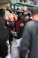 Left fielder Adam Walker (30) of the Rochester Red Wings is congratulated by the rest of the team after hitting a solo homerun in the bottom of the 5th inning against the Scranton Wilkes-Barre Railriders on May 1, 2016 at Frontier Field in Rochester, New York. Red Wings won 1-0.  (Christopher Cecere/Four Seam Images)
