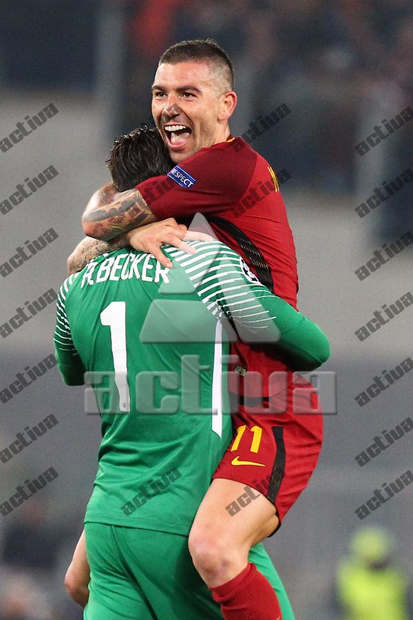 dc53eaf6 ROME, ITALY - APRIL 10,2018: Kolarov celebration with Alisson during fotball  match