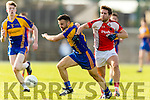 Dara Crowley Kenmare in action against Mark Reen Rathmore in the Senior County Football Semi Final in Fitzgerald Stadium on Sunday.