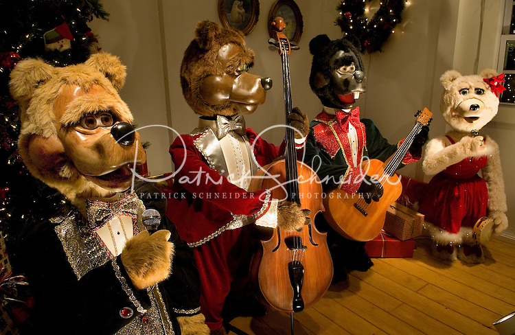 Mechanical bears sing at the annual Christmas tree lighting event at Birkdale Village in Huntersville, NC. Birkdale Village combines the best of shopping, dining, apartments and entertainment venues within a 52-acre mixed-use development.