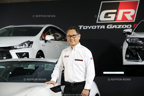 "September 19, 2017, Tokyo, Japan - Japanese automobile giant Toyota Motor president Akio Toyoda displays Toyota's sports car series ""GR sports"" from Gazoo racing at Toyota's showroom Megaweb in Tokyo on Tuesday, September 19, 2017. GR series are sports tuned Toyota's vehicle and seven models are started to sell from September 19 through Toyota's shops.    (Photo by Yoshio Tsunoda/AFLO) LWX -ytd-"