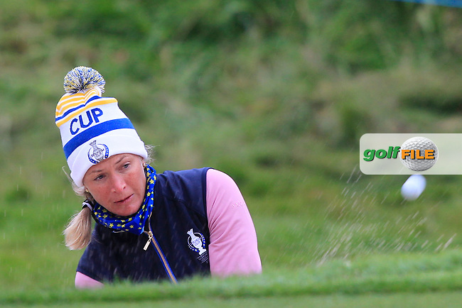 Suzann Pettersen of Team Europe on the 17th during Day 2 Fourball at the Solheim Cup 2019, Gleneagles Golf CLub, Auchterarder, Perthshire, Scotland. 14/09/2019.<br /> Picture Thos Caffrey / Golffile.ie<br /> <br /> All photo usage must carry mandatory copyright credit (© Golffile   Thos Caffrey)