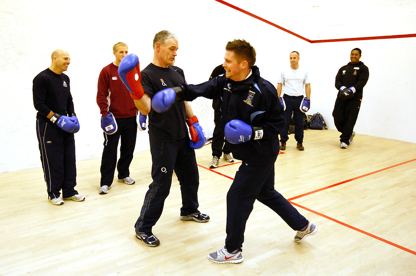 Photo: Richard Lane/Richard Lane Photography. RFU Rugby Fitness for Young Players Ð a pilot continuing professional development event at Warwick School. 06/01/2011. .Roy Headey Ð RFU Head of Sports Science presents Boxing for rugby fitness.