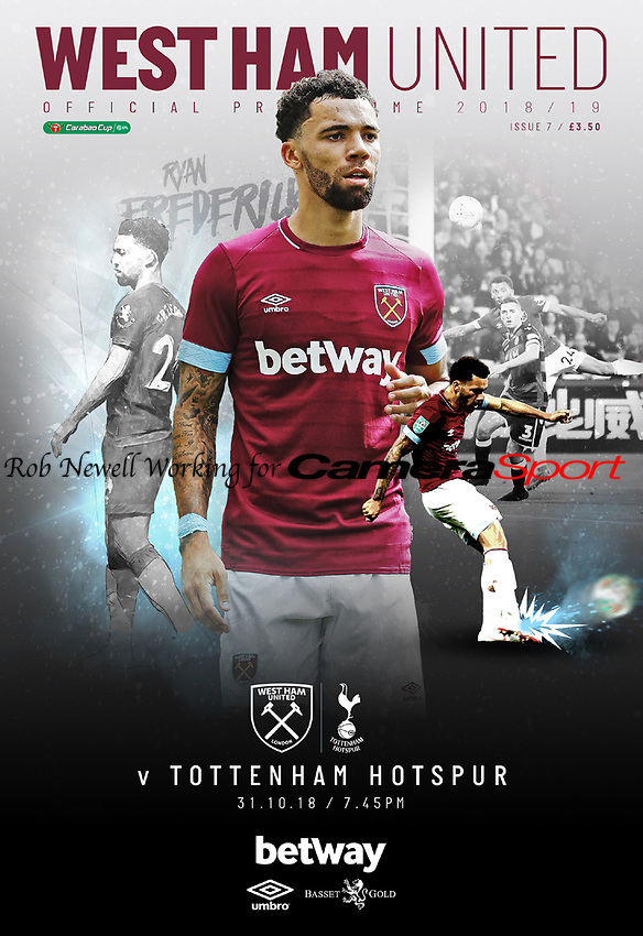 West Ham United Programme Cover - 31-Oct-2018 - Two photos of West Ham United's Ryan Fredericks - Photos by Rob Newell (Camerasport via Getty Images)