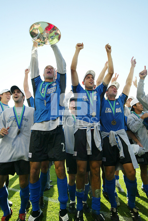 The San Jose Earthquakes celebrate after defeating the Chicago Fire 4-2 in the MLS Cup Championships, in Carson, Calif.
