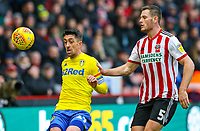 Leeds United's Pablo Hernandez shields the ball from Sheffield United's Jack O'Connell<br /> <br /> Photographer Alex Dodd/CameraSport<br /> <br /> The EFL Sky Bet Championship - Sheffield United v Leeds United - Saturday 1st December 2018 - Bramall Lane - Sheffield<br /> <br /> World Copyright © 2018 CameraSport. All rights reserved. 43 Linden Ave. Countesthorpe. Leicester. England. LE8 5PG - Tel: +44 (0) 116 277 4147 - admin@camerasport.com - www.camerasport.com