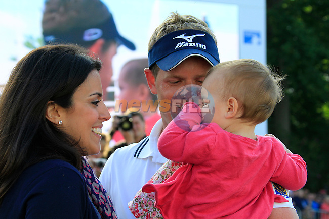 Luke Donald (ENG) with wife Diane and baby daughter Elle after winning the tournament and also becoming World No.1 at the end of the Final Day of the BMW PGA Championship at Wentworth Club, Surrey, England, 29th May 2011. (Photo Eoin Clarke/Golffile 2011)