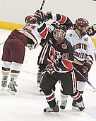 Stephen Gionta, Joe Vitale, Brian Swiniarski, Chris Collins - The Boston College Eagles defeated Northeastern University Huskies 5-3 on Saturday, November 19, 2005, at Kelley Rink in Conte Forum at Chestnut Hill, MA.