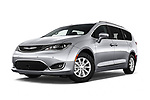 Stock pictures of low aggressive front three quarter view of a 2018 Chrysler Pacifica Touring-L Plus 5 Door Mini Van
