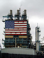 Giant American Flag at a factory in southern California