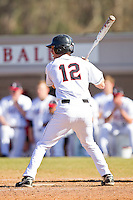 Seth Freeman #12 of the Davidson Wildcats at bat against the College of Charleston Cougars at Wilson Field on March 12, 2011 in Davidson, North Carolina.  The Wildcats defeated the Cougars 8-3.  Photo by Brian Westerholt / Four Seam Images