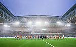 Stockholm 2014-09-21 Fotboll Superettan Hammarby IF - Syrianska FC :  <br /> Vy &ouml;ver Tele2 Arena med &ouml;ppet tak under lineup inf&ouml;r matchen mellan Hammarby och Syrianska som spelades i ett regnv&auml;der <br /> (Foto: Kenta J&ouml;nsson) Nyckelord:  Superettan Tele2 Arena Hammarby HIF Bajen Syrianska FC SFC inomhus interi&ouml;r interior regn regnar regnv&auml;der v&auml;der