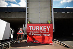 © Joel Goodman - 07973 332324 . 23/06/2016 . Salford , UK . A poster , in favour of a Brexit and paid for by Vote Leave , which states that Turkey is joining the EU , is removed by workmen on the day of polling in the EU referendum in the UK . The poster had been displayed by an underpass on Irwell Street , on the border of Manchester City Centre . Photo credit : Joel Goodman
