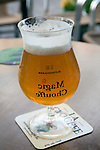 Magic Chouffe beer in glass with mirror writing, Delft, Netherlands