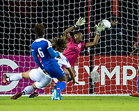 HOUSTON, TX - JANUARY 31: Raquel Rodriguez #11 of Costa Rica heads the ball past Kerly Theus #12 of Haiti for a goal during a game between Haiti and Costa Rica at BBVA Stadium on January 31, 2020 in Houston, Texas.