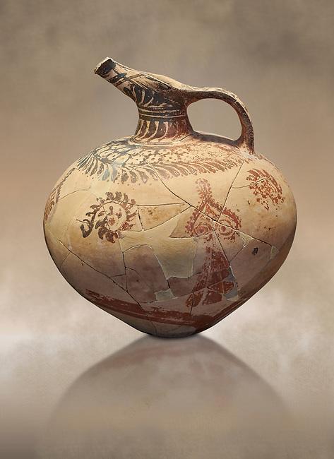 Mycenaean clay jug with ornate decoration of vegetal motifs, Tholos tomb 2 , Myrsinochori, Messenia, 15th cent BC. National Archaeological Museum Athens. Cat No 8375.