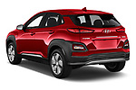Car pictures of rear three quarter view of a 2019 Hyundai Kona EV Creative 5 Door SUV angular rear