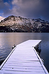 Snow covered dock at Fallen Leaf Lake in winter, near Lake Tahoe, California