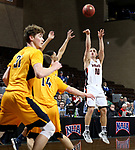 SIOUX FALLS, SD - MARCH 8:  Dylan Phair #10 from Indiana Tech shoots a jumper against West Virginia University Tech at the 2018 NAIA DII Men's Basketball Championship at the Sanford Pentagon in Sioux Falls. (Photo by Dave Eggen/Inertia)