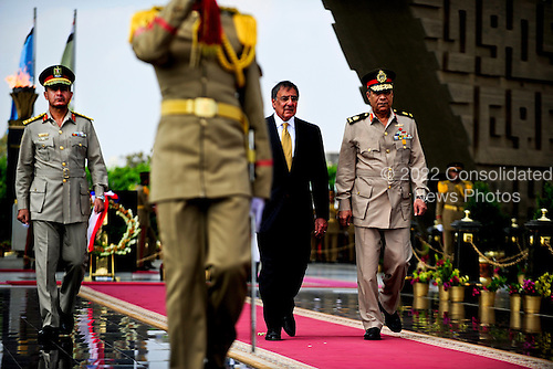 United States Secretary of Defense Leon Panetta participates in a wreath laying ceremony with Egyptian Major General Rouini at the Tomb of the Unknown Soldier and President Anwar Sadat's memorial in Cairo, Egypt, October 4, 2011. .Mandatory Credit: Jacob N. Bailey / USAF via CNP