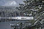 spring snow at Sprague Lake, Rocky Mountain National Park, May, Colorado, USA