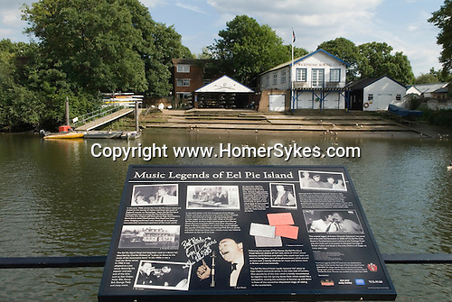Eel Pie island. Music Legends of Eel Pie Island sign. Twickenham Middlesex. England.