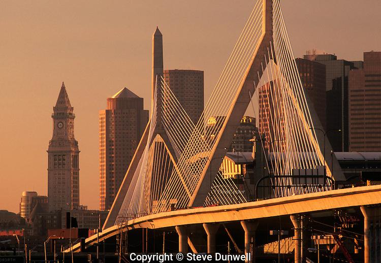 Zakim bridge skyline, sunrise, Boston, MA with Customs house tower (Christian Menn = engineer) cable-stayed