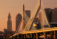 Zakim bridge skyline, sunrise, Boston, MA with Customs house tower (Christian Menn = engineer) cable-stayed