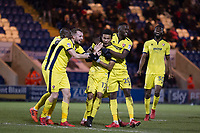Team mates celebrate with scorer of the third goal Jerell Sellars of Cheltenham Town during Colchester United vs Cheltenham Town, Sky Bet EFL League 2 Football at the Weston Homes Community Stadium on 6th January 2018